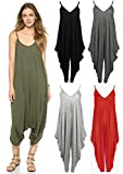 Picture Of Crazy Girls Red Olives® New Womens Plain Ali Baba Harem Suit Cami Strappy Oversized All in One Jumpsuit