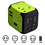Portable Charger Adapter Plug with 2.4A Double USB Charger for UK EU US AU Worldwide AC Wall Adapter and Car Charger-Built Spare Fuse