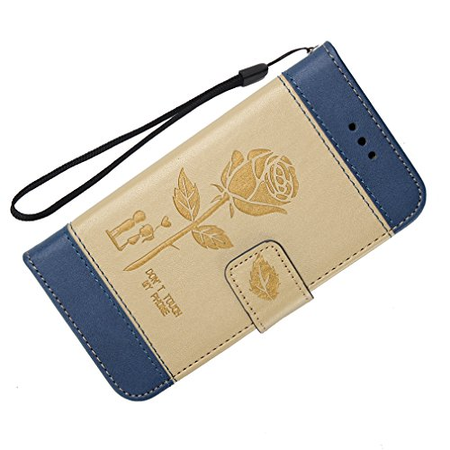 Leather Iphone 5 case,Geprägt Rosen hülle,Magnetisch PU-Leder Geldbörse Flip Wallet Cover in Book Style Stand Case GY-honeq für apple iphone 5/5s/se?Gold Gold