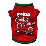 Haustierkleidung,Weihnachten Hund Kleidung Baumwoll T-Shirt Welpen Kostüm von Sannysis (Rot, L)