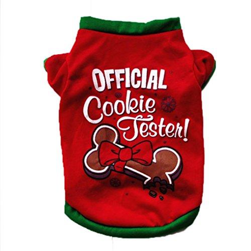 Schatz Für Dog Kostüm Verkauf Brust - Haustierkleidung,Weihnachten Hund Kleidung Baumwoll T-Shirt Welpen Kostüm von Sannysis (Rot, L)