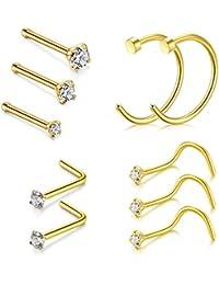 VF VFUN 20G Piercing Nez Anneaux 10 Pieces Faux Piercing Lèvre Nez Anneaux Septum Cartilage Piercing