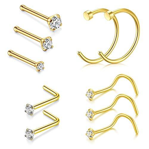 VF VFUN 20G Chirurgenstahl Nasenpiercing Stecker Fake Nasen Piercing Cubic Zirkon Nasenstecker Piercing Damen Herren 10 Stück Gold