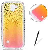 LG K3 2017 Case Silicone,[with Free Black Touch Stylus] KaseHom Gradient Colour Gold and Pink Soft TPU Bumper Skin Bling Glitter Diamond Unique Fashion Design Pattern Ultra Slim Shell Shockproof Anti-Scratch Protective Cover for LG K3 2017,Gold Liquid
