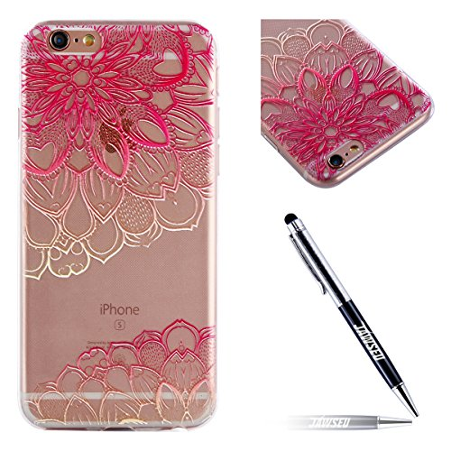 iPhone 6S Custodia, iPhone 6 Cover Silicone, JAWSEU Apple iPhone 6S/6 4.7 Case Caso TPU Ultra Sottile Cristallo Chiaro Luminoso Bella Modello Brillante Trasparente Custodia Cover per iPhone 6S Protezi Floreale Rosa