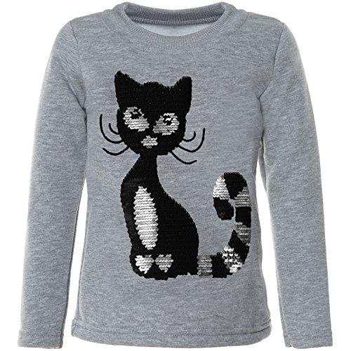 BEZLIT Mädchen Kinder Pullover Pulli Wende Pailletten Sweatshirt 21547, Farbe:Grau, Größe:158 (T-shirt Lange Mädchen)