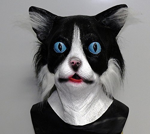 Maske Katze Halloween (The Rubber Plantation Latex Katzenmaske Schwarz & Weiß mit Fell Katze Tabby Tom Tier -)