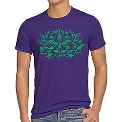style3 Sheldon Dinosauria Camiseta para hombre T-Shirt, Talla:L;Color:Morado