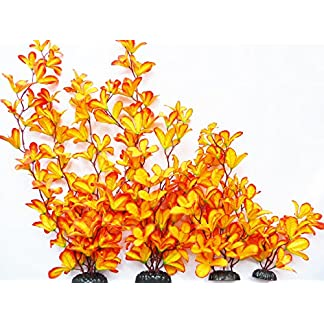 Aquarium Plant (Silk) Burnt Orange Orchid Fish Tank Decoration 51qZvsxMcBL