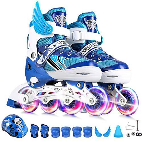 Yujingc Pattinare Completo da Gioco Flash per Bambini Scarpe da Ginnastica Foller in Linea Regolabile 3-10 Anni Scarpe da Skate per Principianti Migliori Ragazze,Blue,M