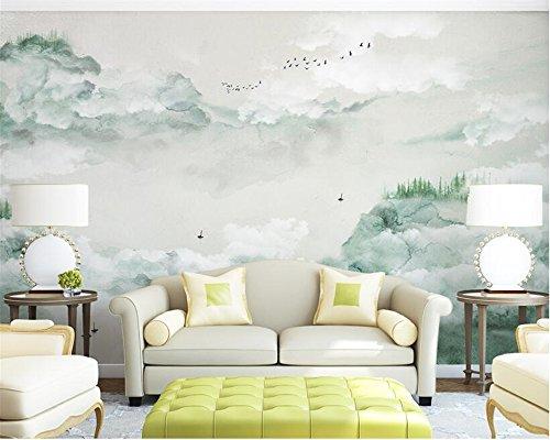 HHCYY Benutzerdefinierte Wandpapier 3D Tinte Grüne Landschaft Vogel Malerei Moderne Abstrakte Kunst Wand Gemälde Salon Schlafzimmer 3D Wandpapier450cmx300cm (Vogel-wand-kunst-malerei)