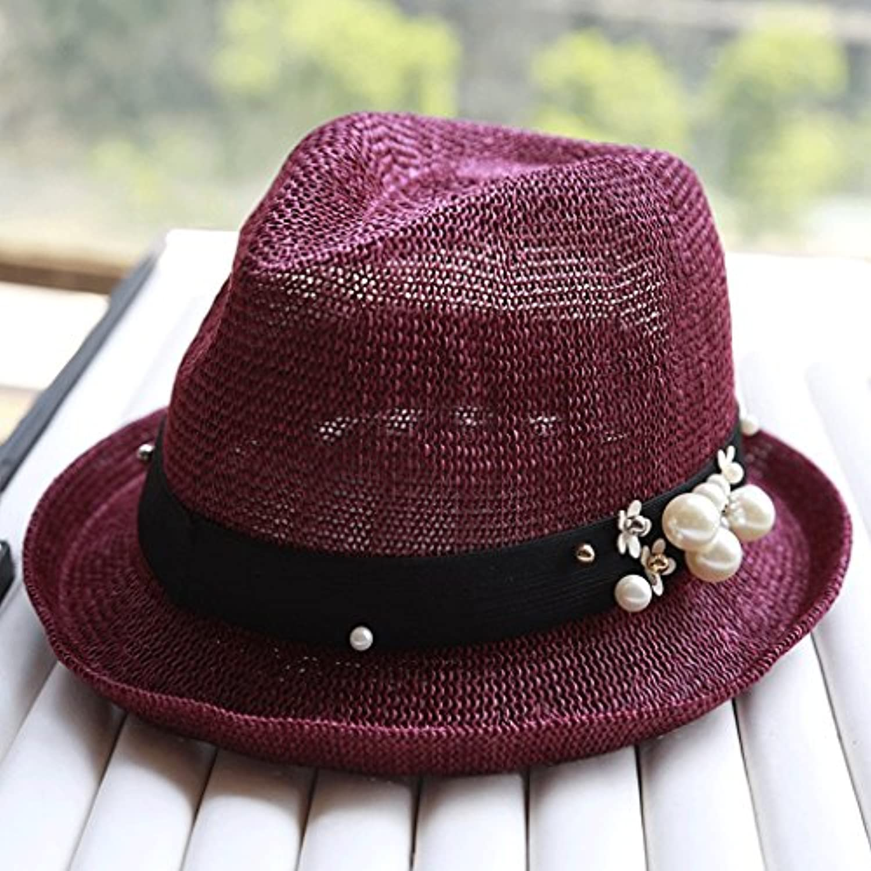 Hongyan Cappello di Paglia Cappello Estivo Femminile Estate Cappello di di  Cappello Curling Cappello Estivo Sole Yiwuhu Cintura da Donna ... 984b98667c27