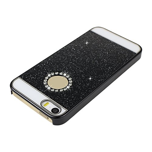 iPhone 5S Hülle Glitzer, Rosa Schleife Ultra Dünn PC Hart Cases BackCover Crystal Glitzer Schutzhülle Handyhülle Bumper Schale für iPhone SE / 5S / 5 Schwarz