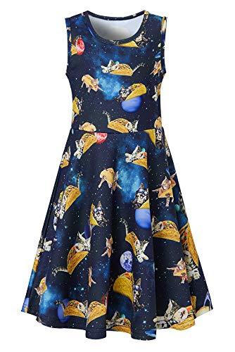 Funnycokid Mädchen Kleid Halloween Cartoon Drucken Kleider Kleider Dreiviertel-Ärmel Lässig Kostüme - Ananas Kostüm Tutu