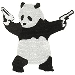 PANDA With Gun, Officially Licensed Original Artwork, High Quality Iron-On / Sew-On, 3.2″ x 3.2″ Embroidered PATCH toppa