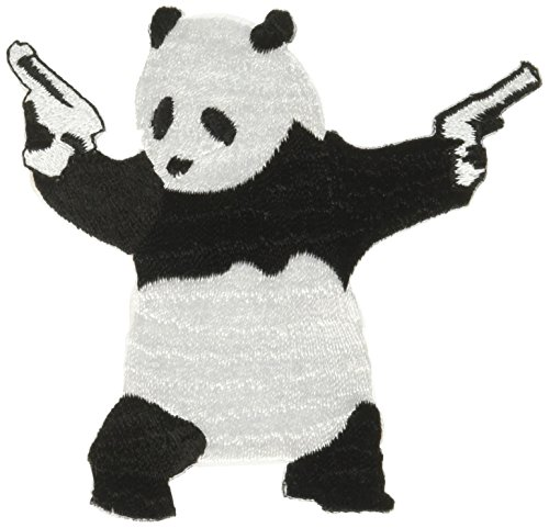 PANDA With Gun, Officially Licensed Original Artwork, High Quality Iron-On / Sew-On, 3.2