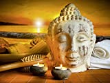 Artland Wandbild auf Alu-Verbundplatte Sandralise Bad-Zubehör mit Buddha-Statue bei Sonnenuntergang Fantasy & Mythologie Religion Buddhismus Fotografie Braun A7JG