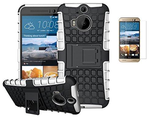 Preisvergleich Produktbild HTC One M9 Plus / HTC One M9+(2015) Hülle +Panzerglas, TPU+PC Ultra Slim Silikon Tough Rugged Dual-Layer Hardcase with Built-in Kickstand Thin Stand Case