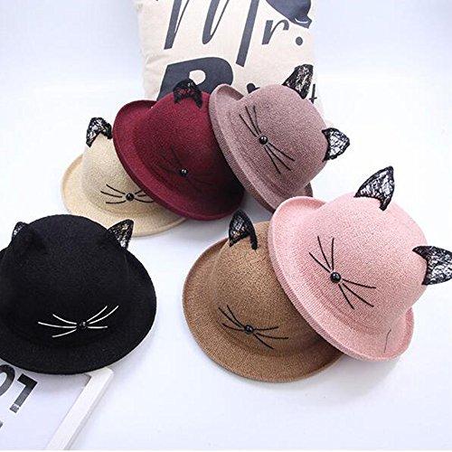 Cappello PJ Femminile Estivo Primavera Bombetta in Pizzo per Gatto Adatto  per la Maggior Parte delle Persone (Colore   caffè) 7999a9092e19