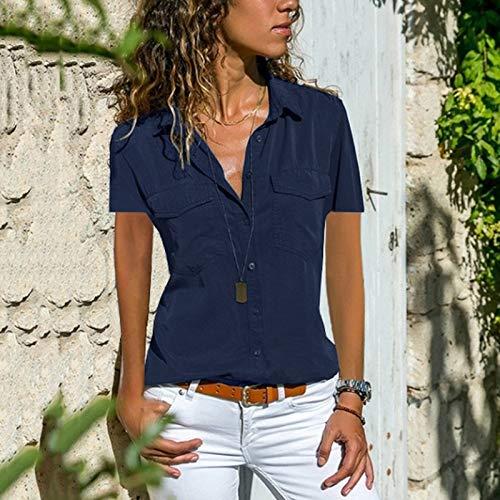 Damen Revers Kurzarm Bluse Top Shirts Womens Solide V-Ausschnitt Lose Taste Oben Blusen Tops Kleidung Casual Fashion Sexy T-Shirt Vertuschen Strand Sweatshirts (4XL,Marineblau) - Amerika Womens V-neck T-shirt