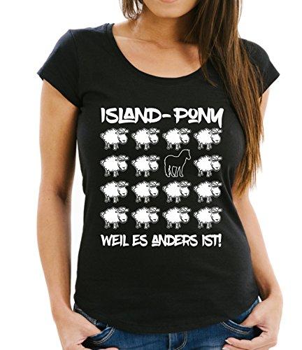 Siviwonder WOMEN T-Shirt BLACK SHEEP - ISLAND PONY Pferd reiten - PFERDE Fun Schaf Schwarz