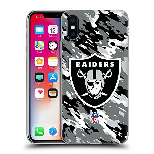 Head Case Designs Offizielle NFL Camou Oakland Raiders Logo Soft Gel Huelle kompatibel mit iPhone X/iPhone XS