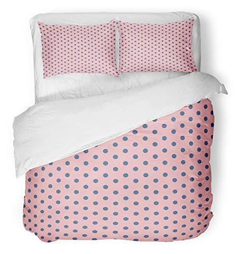 3 Stück Bettbezug-Set atmungsaktiv gebürstet Mikrofaser Stoff blau abstrakt rosa Polka Dot auf blau schwarz Kreis geometrische Mädchen Grafik Hello Kitty Bettwäsche mit 2 Kissenbezüge Twin Size -