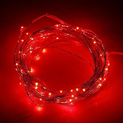 Ryham LED Schnur-Licht-Weihnachtslicht -30 LED 3M 9.8ft Outdoor Indoor Wasserdichtes Starry String Kupferdraht -Lichter, Rot