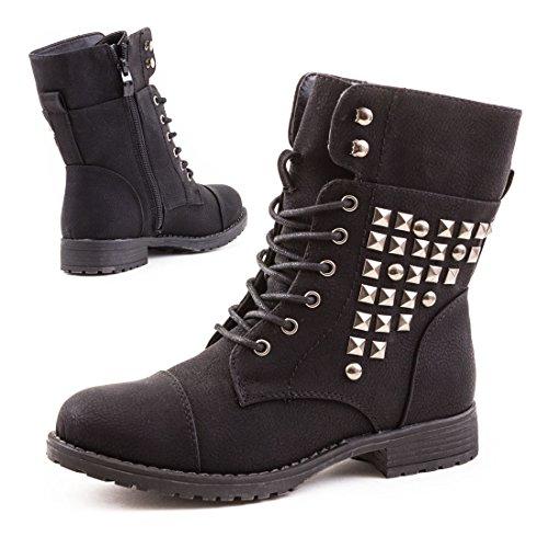 Stylische Nieten Biker Boots Stiefeletten in hochwertiger Lederoptik Schwarz