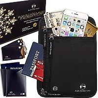 Neck Wallet Passport Holder & Travel Pouch RFID Blocking + 5 Extra Bonus Sleeves (Premium Black DLX)