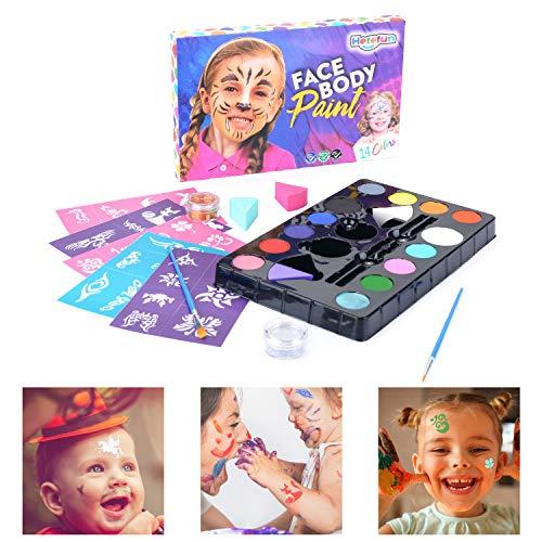 Herefun Kinderschminke Set Face Paint Schminkpalette 14 Schminkfarben - Gesichtsfarbe für Facepainting mit 2 Glitzer und 2 Pinsel - Kinderschminken Körperfarben Halloween Karneval Make-up Bodypainting (Paint Palette Kinder Für)