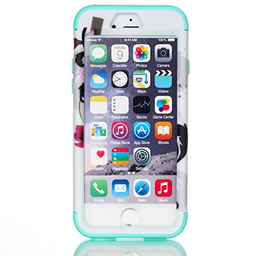 "JNTworld iPhone 6/6S iPhone 6 plus Etui 3 en 1 Armure Forte antichoc Etanche Coque, iPhone 6/iPhone 6S, 4.7"", Rose-carmin vert"
