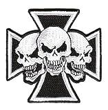 Aufnäher Patch Eisernes Kreuz Totenkopf 8 x 8 cm