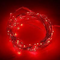 Ryham LED luci della stringa Luce di Natale 50 LED 5M illumina 16.4ft esterna coperta impermeabile stellata String filo di rame, Rosso