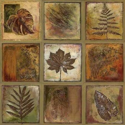 I by Pinto foglie, quadrati, Patricia-Stampa su tela in carta e decorazioni disponibili, Tela, SMALL (26 x 26 Inches