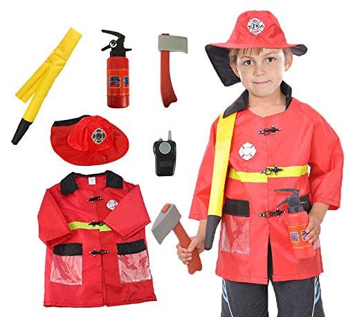 feuerwehrmann kostuem kinder OUBEI Kinder Rollenspiel Kostüm Set Geneigter So Tun, ALS Halloween Kostüm und Zugbegrenzer,3-7 Jahre - Feuerwehrmann, One Size