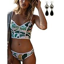 Sitengle Para Mujer Bañadores Ropa de Dos Piezas Push-up Pecho Bikinis con Cremallera de Traje de Baño de Playa Natación Swimwear Swimsuit