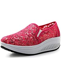 SHINIK Zapatos de verano para mujer Zapatos de lentejuelas de tul Transpirable Zapatos de sacudida de la aptitud...