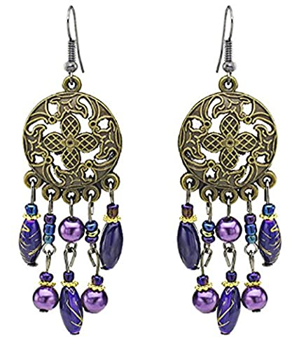SaySure - Dangle Earrings Purple Beads Bronze Flower Long Tassel