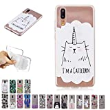 V-Ted Coque Apple iPhone XR Licorne Chat Silicone Ultra Fine Mince Bumper Housse Etui Cover Transparente avec Motif Dessin Antichoc Incassable