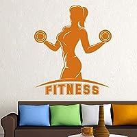 Fitness Mancuernas Nombre Etiqueta Chica Gimnasio Calcomanía Body-building Posters Vinilo Tatuajes de pared Decoración