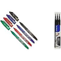 Pilot Penna Frixion penna (confezione da 4), colori assortiti & 006656 Frixion Ball Refill per Penna a Sfera, 0.7 mm…