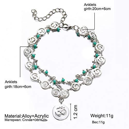 CTRCHUJIAN Damen böhmische mehrschichtige Fußkettchen Vintage Silber Blatt Perlen Muster Anhänger Knöchel Sexy Strand Schmuck