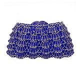 Madeinely Damen Clutch Bag Damenhandtaschen Strass Abendkleider Ms. Party Hochzeit Brieftasche Premium Schulter Tote Handgefertigte Muscheltaschen (Color : Blue)