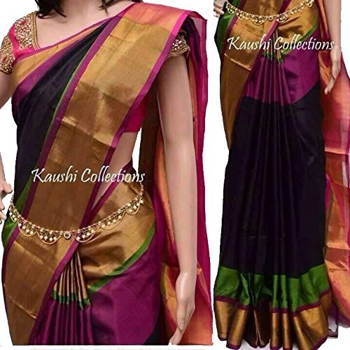 Fashion Flowerz Original Andhra Uppada Pure Silk Sarees With Blouse For Women Multicolor