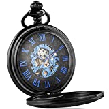 Alienwork Retro Reloj de Bolsillo Mecánico Relojes Hombre Mujer Acero Inoxidable Negro Analógicos Cuerda Manual Unisex Azul Esqueleto Vintage