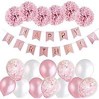 MMTTX Geburtstagsdeko Mädchen,MMTX Happy Birthday Girlande Ballons Banner Set mit Geburtstag Dekoration,Seidenpapier Pompoms Rosa und Rosa Ballons für Mädchen Freundin Tochter