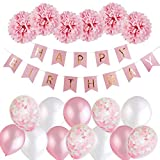 MMTX niñas Feliz cumpleaños Decoracion Globos Garland Banderas