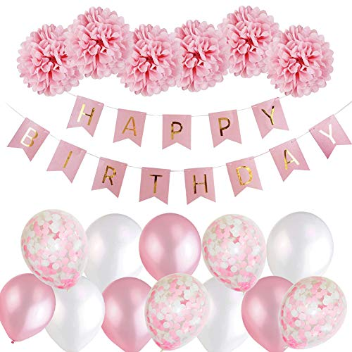Birthday Decorations Girls Happy Bunting Banner Balloons Set With Tissue Paper Pompoms And Pink