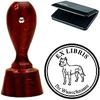 Esclusivo ex libris Set Timbri « American Staffordshire Terrier » rotondo mogano colori con timbro cuscino exlibris exlibris–Cane animale domestico
